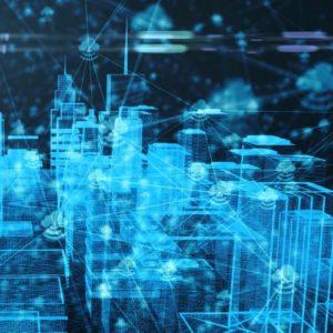Connected smart buildings IOT Internet of things cloud computing 5G network 3d render