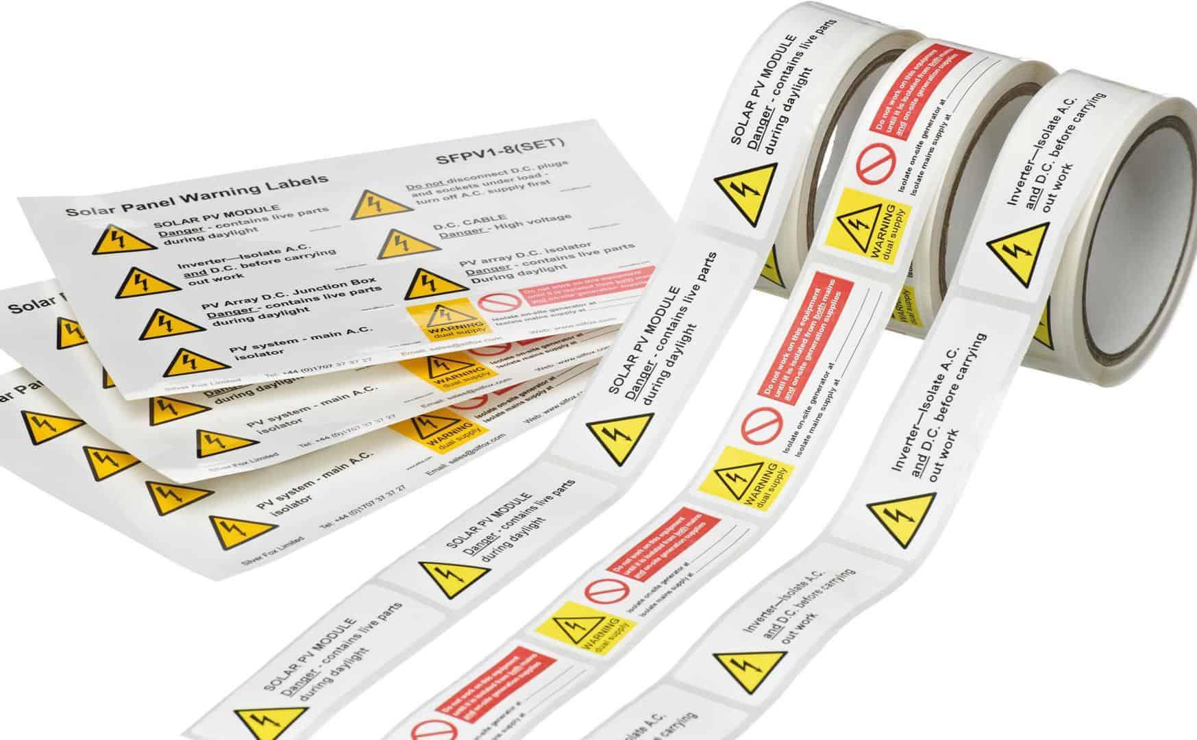 solar panel warning labels